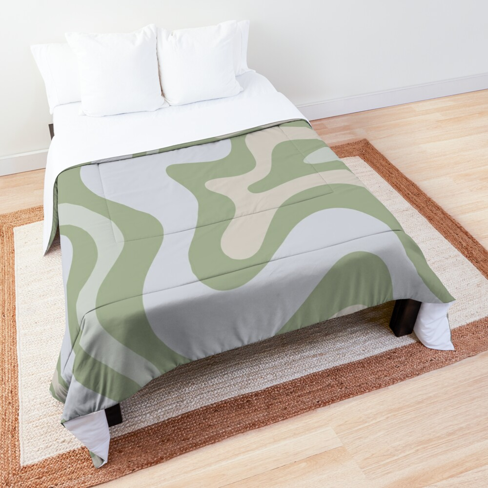 Liquid Swirl Contemporary Abstract in Light Sage Green Grey Almond Comforter