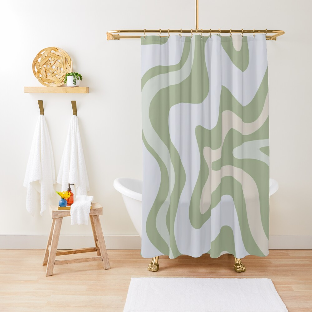 Liquid Swirl Contemporary Abstract in Light Sage Green Grey Almond Shower Curtain