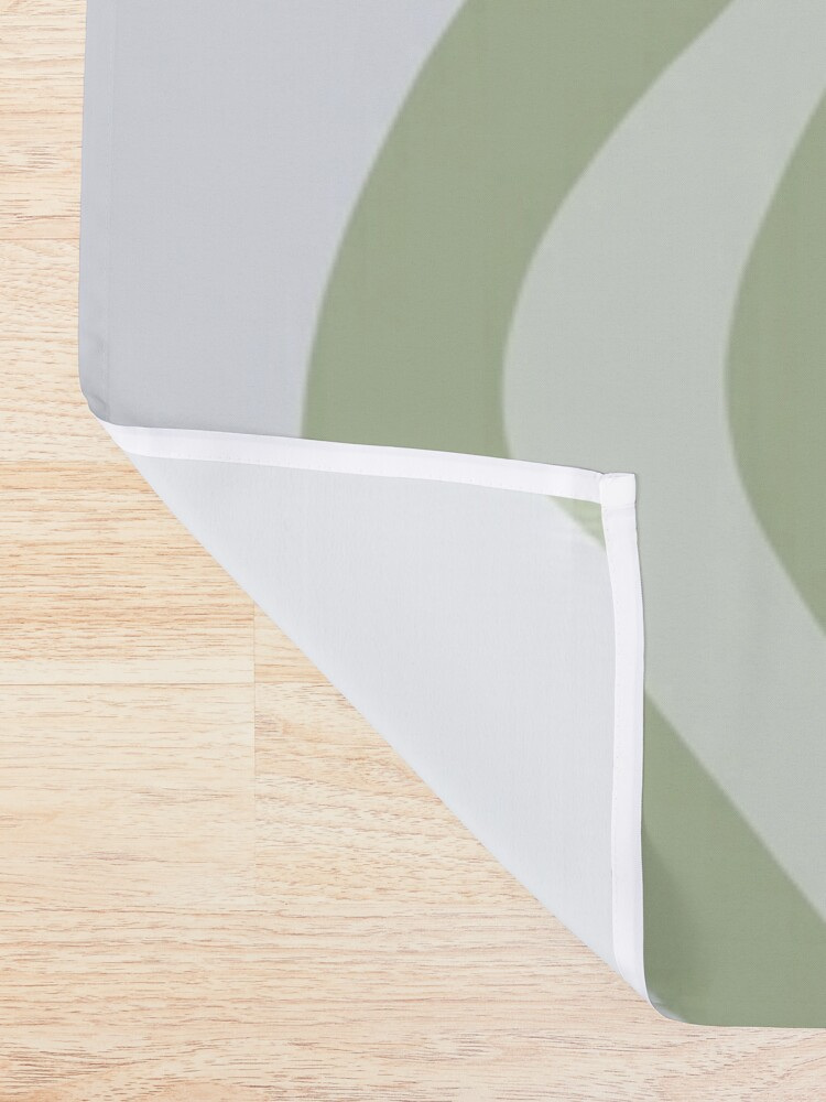 Alternate view of Liquid Swirl Contemporary Abstract in Light Sage Green Grey Almond Shower Curtain