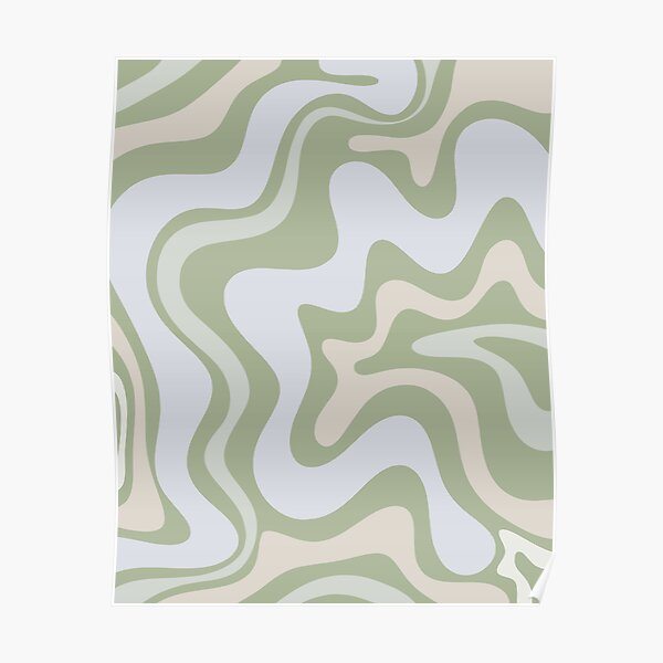 Liquid Swirl Contemporary Abstract in Light Sage Green Grey Almond Poster