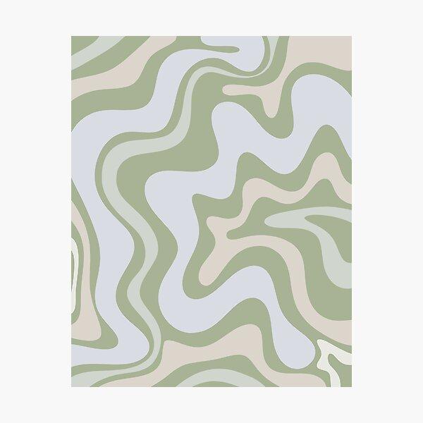 Liquid Swirl Contemporary Abstract in Light Sage Green Grey Almond Photographic Print