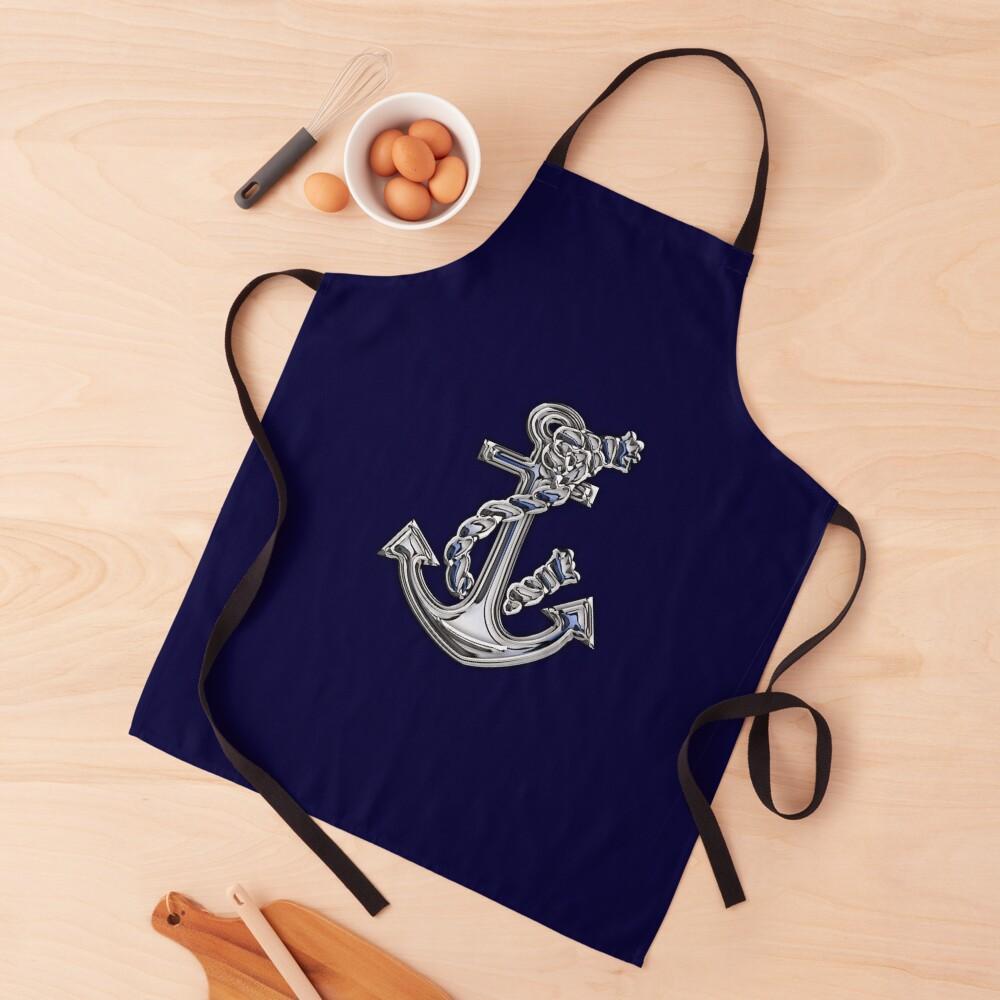 Chrome Style Nautical Rope Anchor Applique Apron