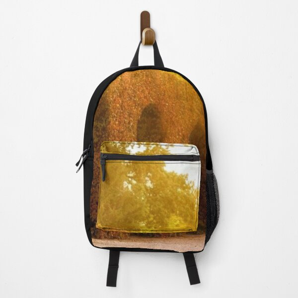 Autumn leaves surround archways of colorful leaves in autumn photography Backpack