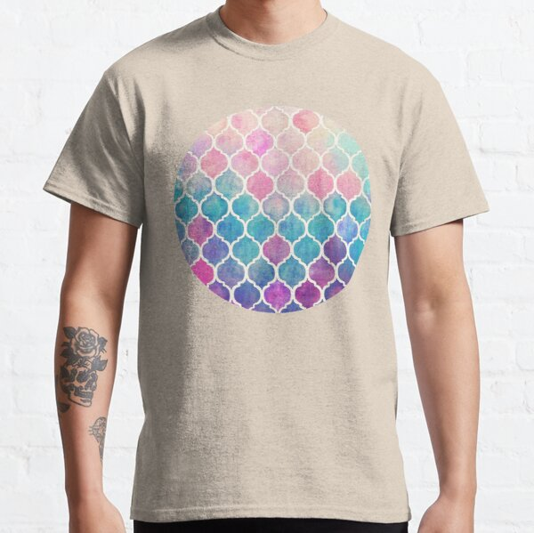 Rainbow Pastel Watercolor Moroccan Pattern Classic T-Shirt