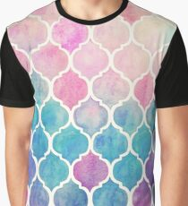 Rainbow Pastel Watercolor Moroccan Pattern Graphic T-Shirt