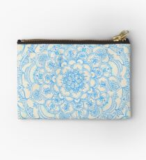 Pale Blue Pencil Pattern - hand drawn lace mandala Studio Pouch