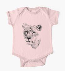 Lioness. Female Lion. Digital Wildlife Engraving Image One Piece - Short Sleeve