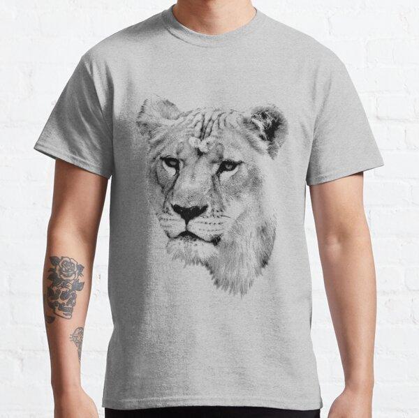 Lioness. Female Lion. Digital Wildlife Engraving Image Classic T-Shirt