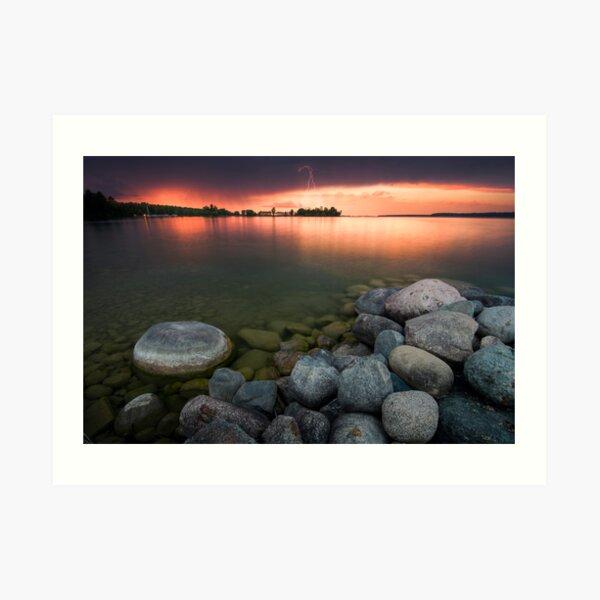 Lightning at Sunset - Leech Lake, MN Art Print