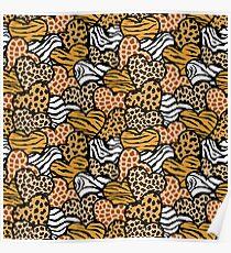 Fun animal pattern hearts Poster