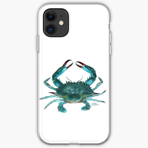 """""""Blue Crab"""" by Amber Marine, watercolor painting, © 2013 iPhone Soft Case"""