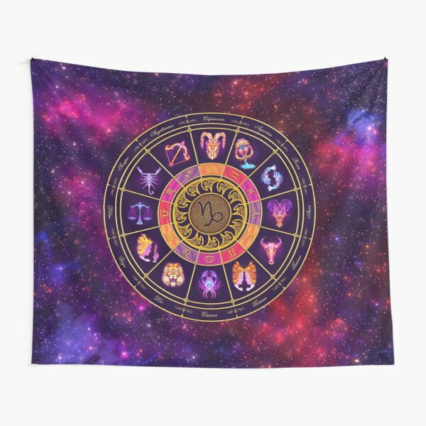 Capricorn Zodiac Lightburst - Circle Tapestry