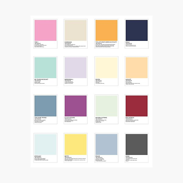 TS8 All Songs Color Swatches Photographic Print