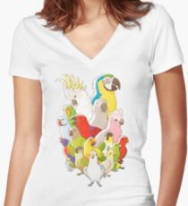 Parrot Party Women's Fitted V-Neck T-Shirt