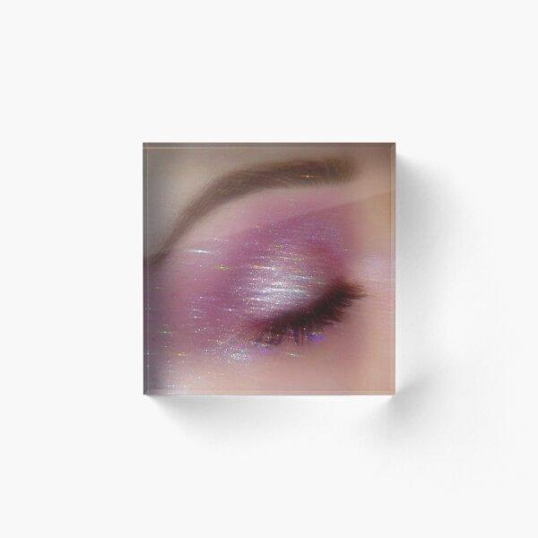 pink sparkly euphoria makeup Acrylic Block