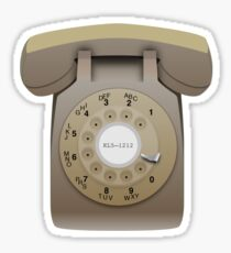 Rotary Phone (beige on white) Sticker