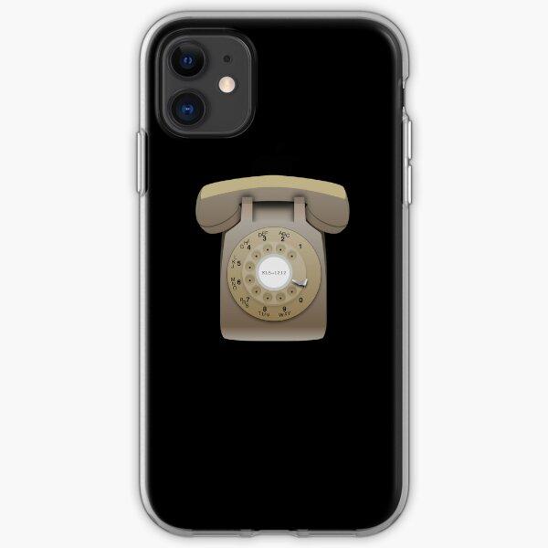 Rotary Phone (beige on black) iPhone Soft Case