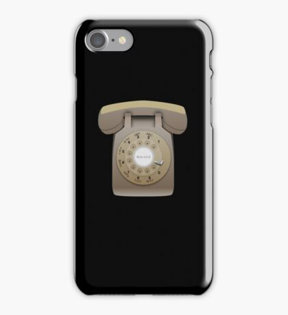 Rotary Phone (beige on black) iPhone Case/Skin