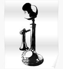 Antique Candlestick Telephone. Antique Digital Engraving Vintage Image. Poster
