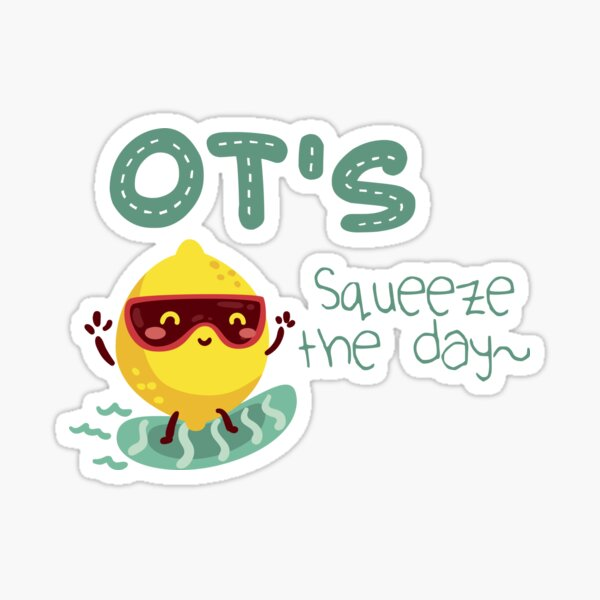 OT's Squeeze the Day Surf Lemon Occupational Therapy Sticker