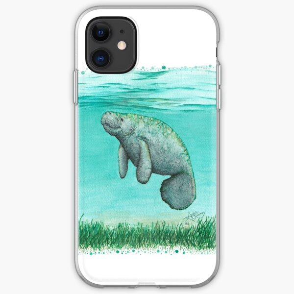 """""""Mossy Manatee"""" by Amber Marine ~ Watercolor and ink painting, art © 2016 iPhone Soft Case"""