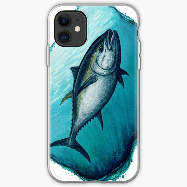 """""""Bluefin Tuna"""" by Amber Marine ~ Watercolor painting, art © 2016 iPhone Soft Case"""