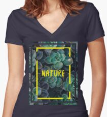 NATURE Women's Fitted V-Neck T-Shirt