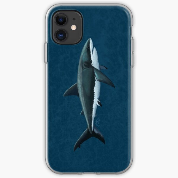 Carcharodon carcharias by Amber Marine, great white shark illustration, art © 2015 iPhone Soft Case