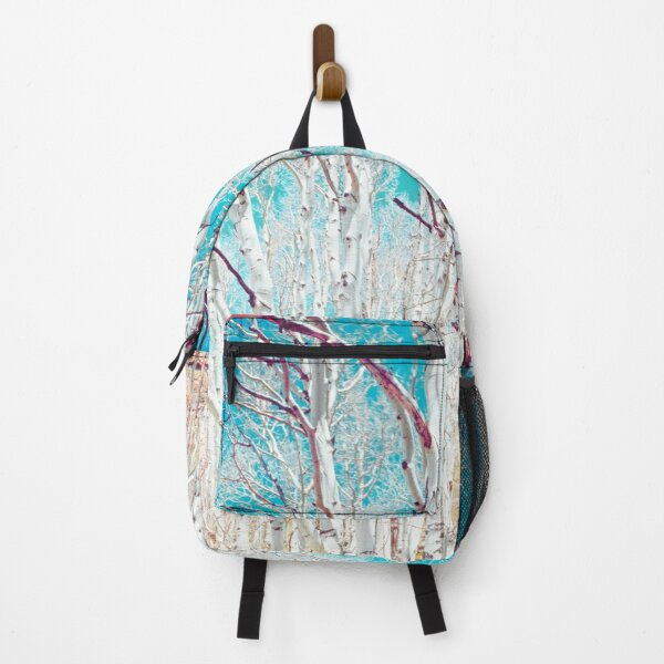 White Birch Trees and Turquoise Sky Backpack