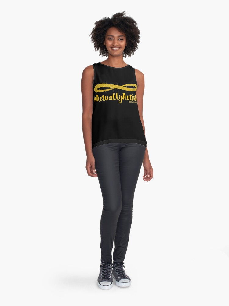 Alternate view of The Articulate Autistic Gold Infinity Logo Sleeveless Top
