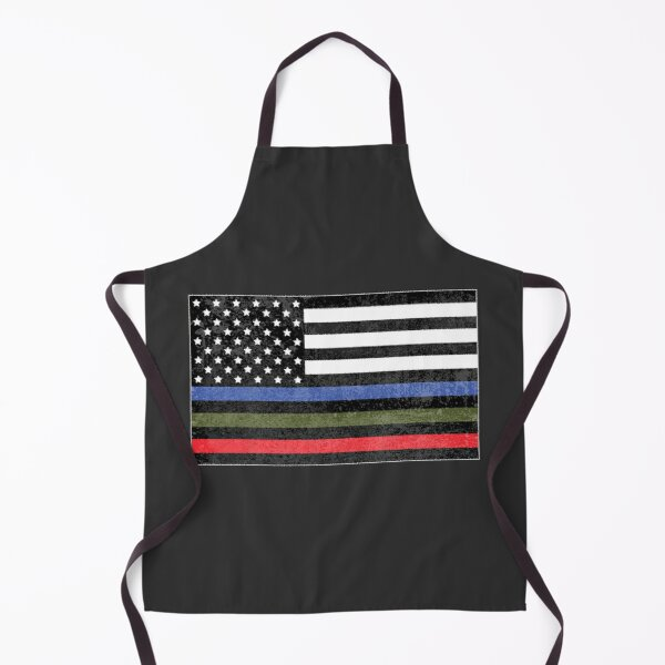 Police, Military and Fire Flag (Version 3) Apron