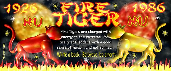 1986 2046 Chinese zodiac born as Fire Tiger by Valxart.com by Valxart