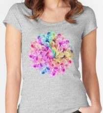 Rainbow Watercolor Paisley Flower Women's Fitted Scoop T-Shirt