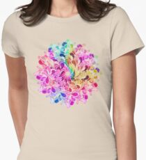 Rainbow Watercolor Paisley Flower Women's Fitted T-Shirt