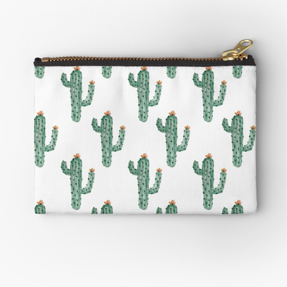 Watercolor Cactus Classic Pattern Zipper Pouch