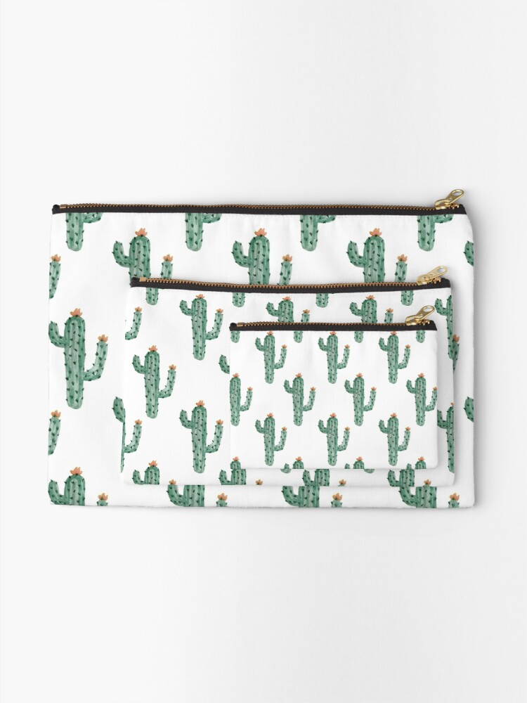Alternate view of Watercolor Cactus Classic Pattern Zipper Pouch