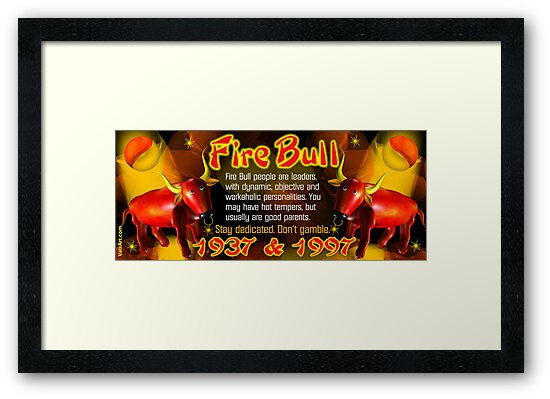 1937 1997  Chinese zodiac born in year of Fire Bull by valxart.com by Valxart