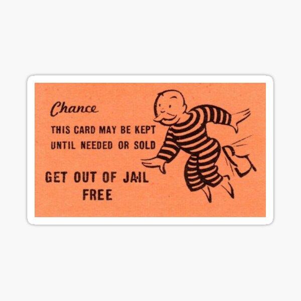 Drôle sortir de prison homme monopole carte gratuite Sticker