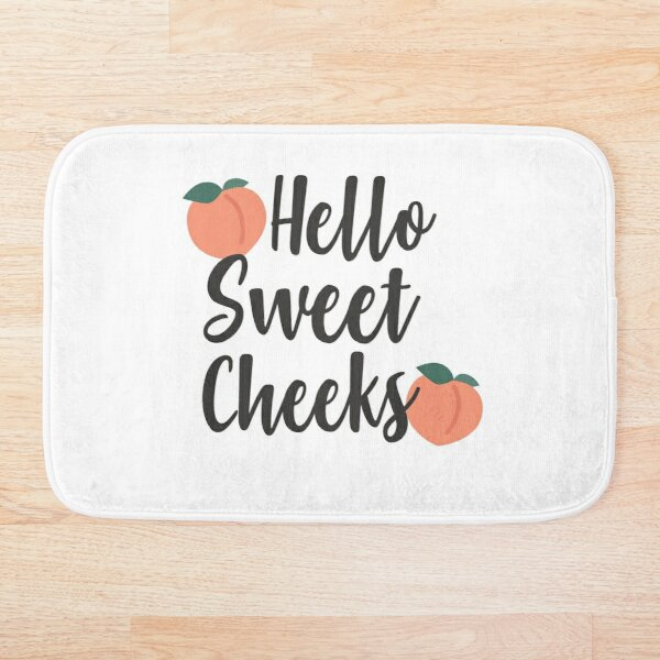 Peach Hello Sweet Cheeks printable Bath Mat