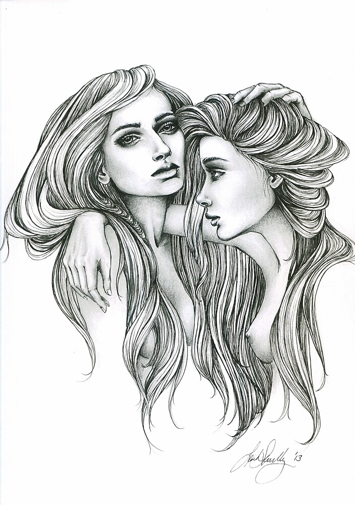 """Black and White Illustration Print ""Gemini Mind"""" by ..."
