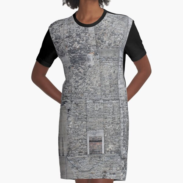 Wall, architecture, stone, old, building, ancient, castle, medieval, door, window, church, house Graphic T-Shirt Dress