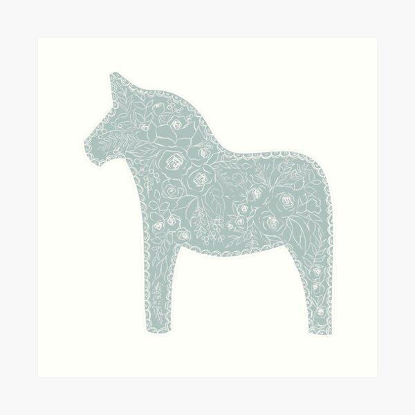 Floral Dala Horse Art Print