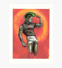 punk rocker pinup guy, beefcake Art Print