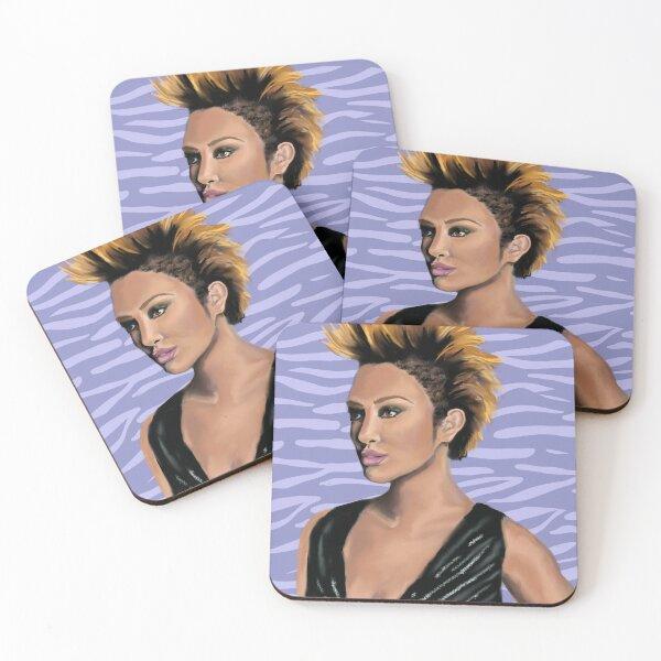 Mohawk girl zebra background Coasters (Set of 4)