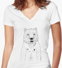 Lazy Bear Women's Fitted V-Neck T-Shirt