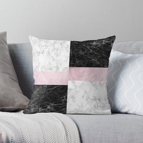 Geometric Marble Collage Art Throw Pillow