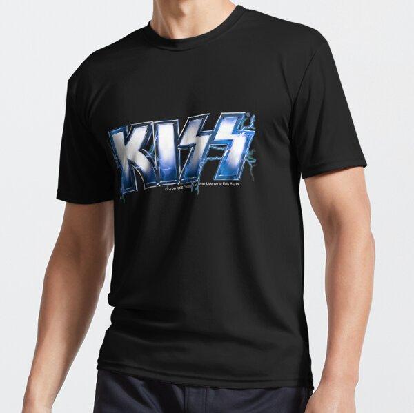 KISS rock music band -  Blue Lightning Logo Active T-Shirt