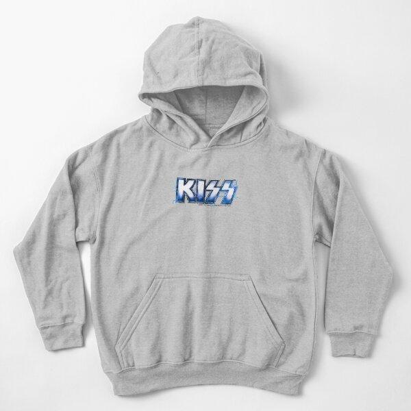 KISS rock music band -  Blue Lightning Logo Kids Pullover Hoodie