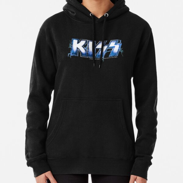 KISS rock music band -  Blue Lightning Logo Pullover Hoodie