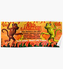 1956 2016 Chinese zodiac born in year of Fire Monkey  Poster